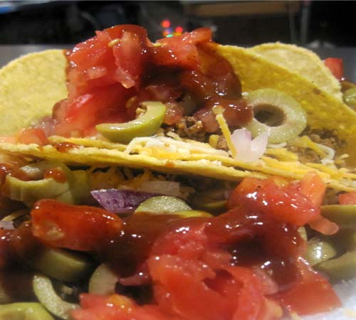 Hard shell taco with all the fillings